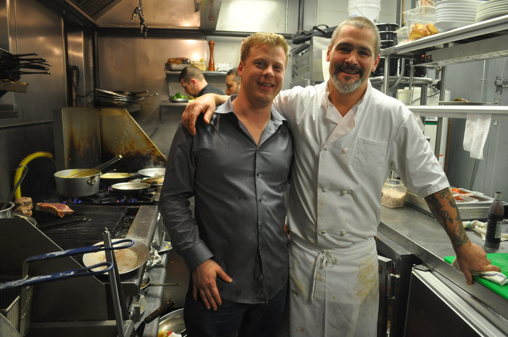 Owner Michael Cassano, left, and Executive Chef Matthew Maxwell in Acacia's bustling kitchen Saturday.