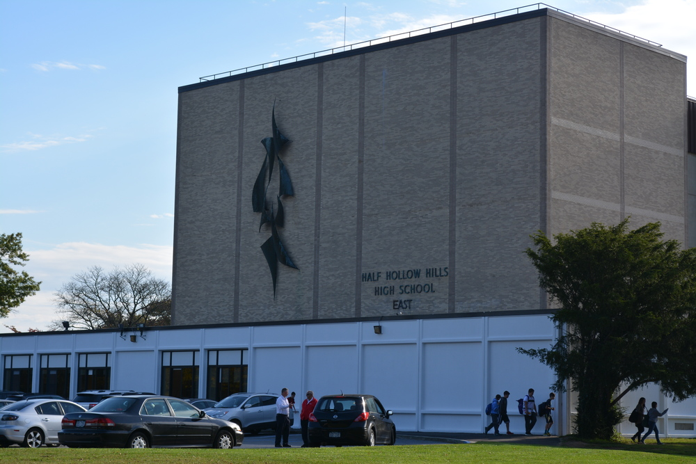Suffolk Police investigated a bomb threat at Half Hollow Hills High School East, which has resulted in reinforced security protocols in the building. (Long Islander News photo / Arielle Dollinger)