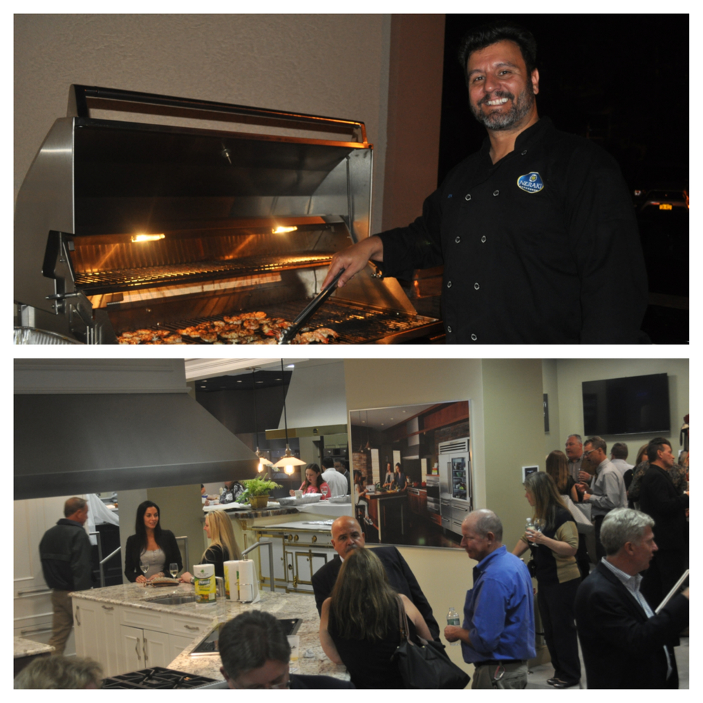 Hundreds packed Appliance World, below, as restaurateurs like Neraki's Alex Moschos, above, prepared favorites from their menu in support of Rotary's Gift of Life program.