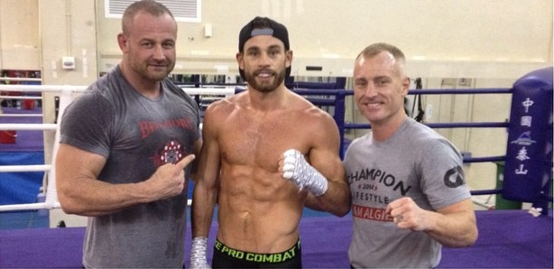 Chris Algieri, center, checks in with his Instagram followers from Macau, China where he's currently preparing to take the ring with Manny Pacquiao on Saturday.