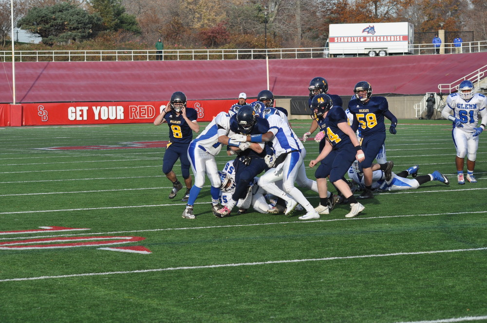 Elwood's John Glenn Knights struggled to a 47-10 loss against the Shoreham-Wading River Wildcats in the Suffolk County Division IV finals at Stony Brook University Saturday.