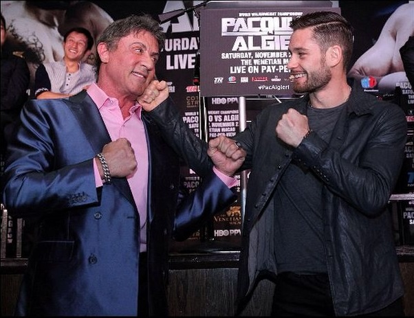 "Greenlawn's Chris Algieri, right, gets to meet ""Rocky"" himself, Sylvester Stallone at a press conference in Los Angeles in the days leading up to the boxing stars title fight against Manny Pacquiao. (Photo/Instagram)"