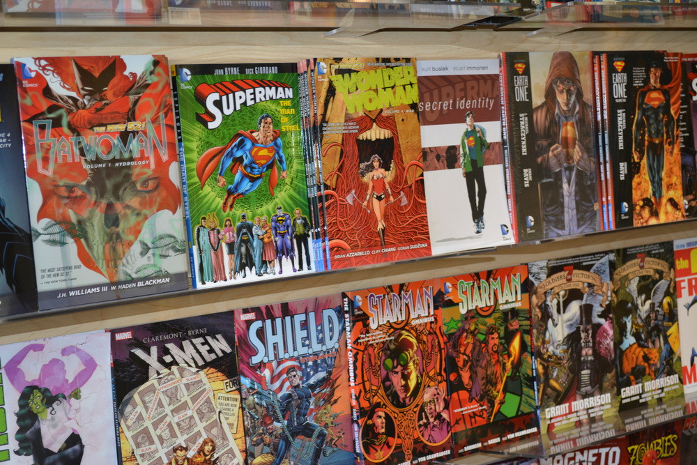 Iconic characters like Superman, Wonder Woman and the X-Men grace the shelves of Escape Pod Comics at 302 Main St. in Huntington village.