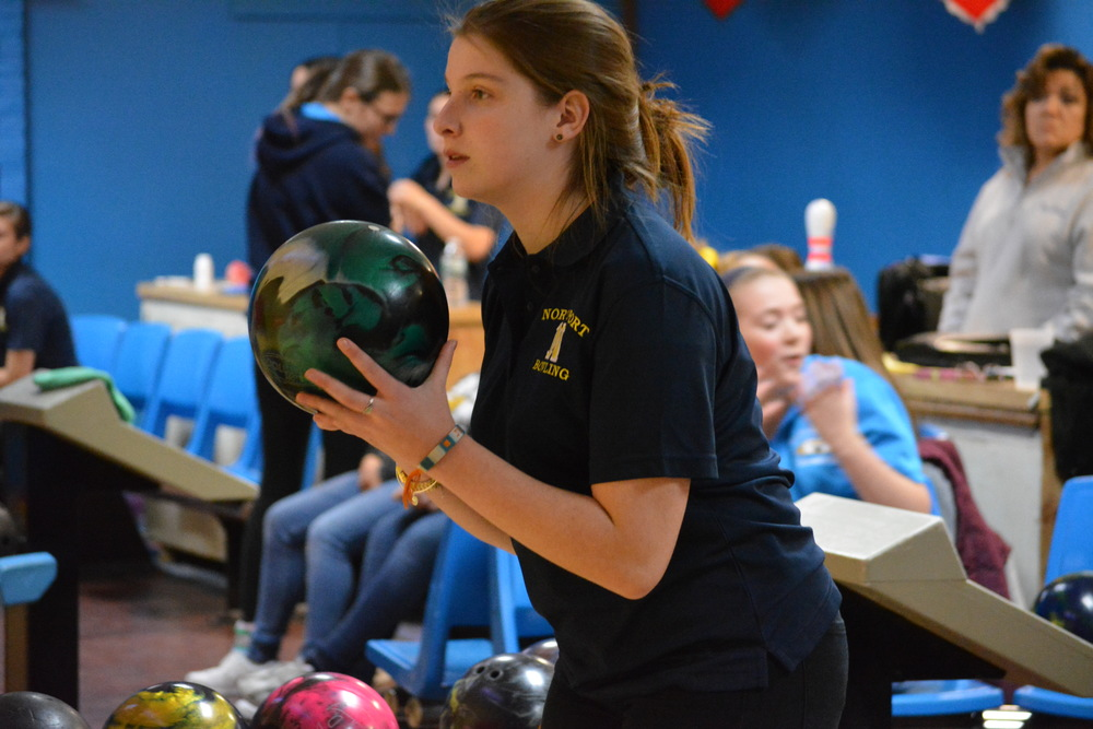 Jennifer Ruder prepares to take her shot on Dec. 11 as Northport took on North Babylon at Larkfield Lanes in East Northport.