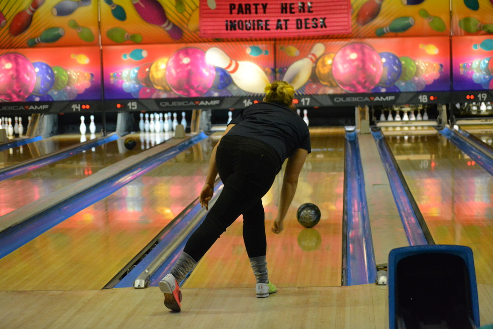 Gillian Mohr, one of the Northport girls bowling team's members, watches her shot curve towards the pins during a Dec. 11 match where the Lady Tigers took on the Bulldogs of North Babylon.