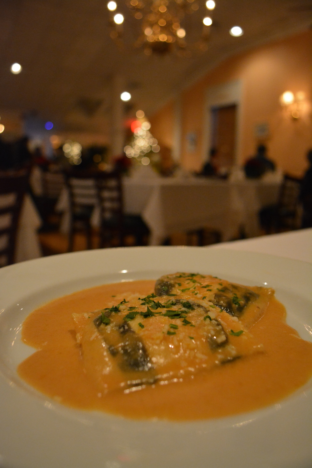 Lobster Ravioli was on the specials menu on Sunday night.