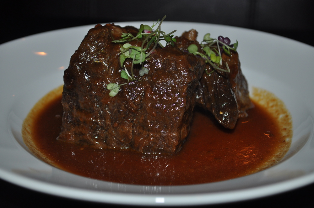 Braised miyazaki beef short ribs start with the scent of soy and finish with the tang of Korean galbi sauce.
