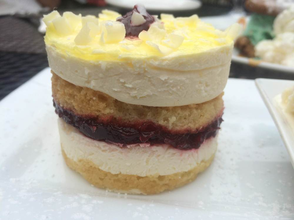 If a tea party were to take the form of a tiny cake, it would look something like the Raspberry Lemon Drop ($9). (Bistro 44. 44 Main St., Northport, 631-262-9744, Bistro44.net)  Long Islander News photo/ Arielle Dollinger
