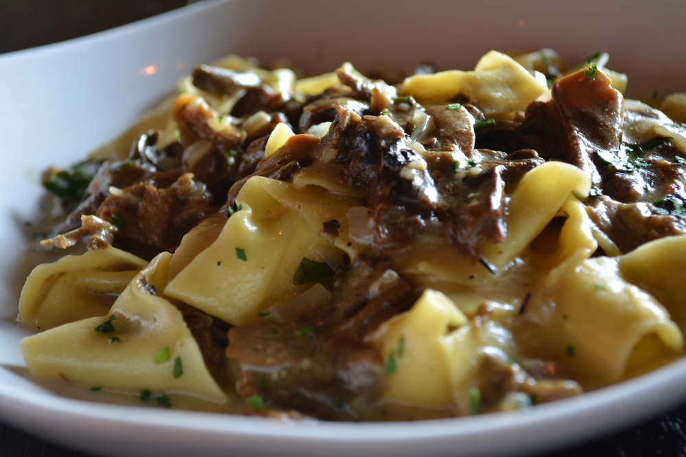 "One of Doppio Artisan Bistro's most popular pasta dishes as of summer 2014 is the Pappardelle Al Porcini ($20), house-made pappardelle -- flat, wide pasta noodles -- with porcini mushroom, truffle oil and ""a touch of cream."" (Doppio Artisan Bistro, 24 Clinton Ave., Huntington, 631-923-1515, doppiohuntington.com)  Long Islander News photo/ Arielle Dollinger"