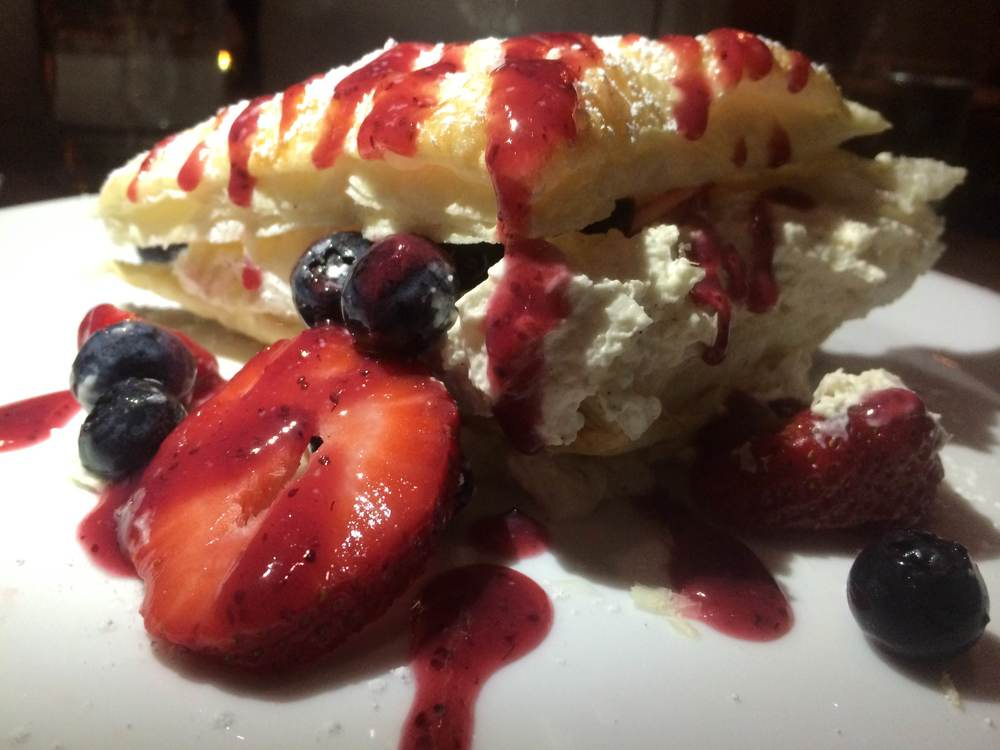 This dessert at Osteria Da Nino featured flaky pastry with cream and berries. (Osteria Da Nino, 292 Main St., Huntington, 11743. 631-425-0820, osteriadanino.com)  Long Islander News photo/ Arielle Dollinger