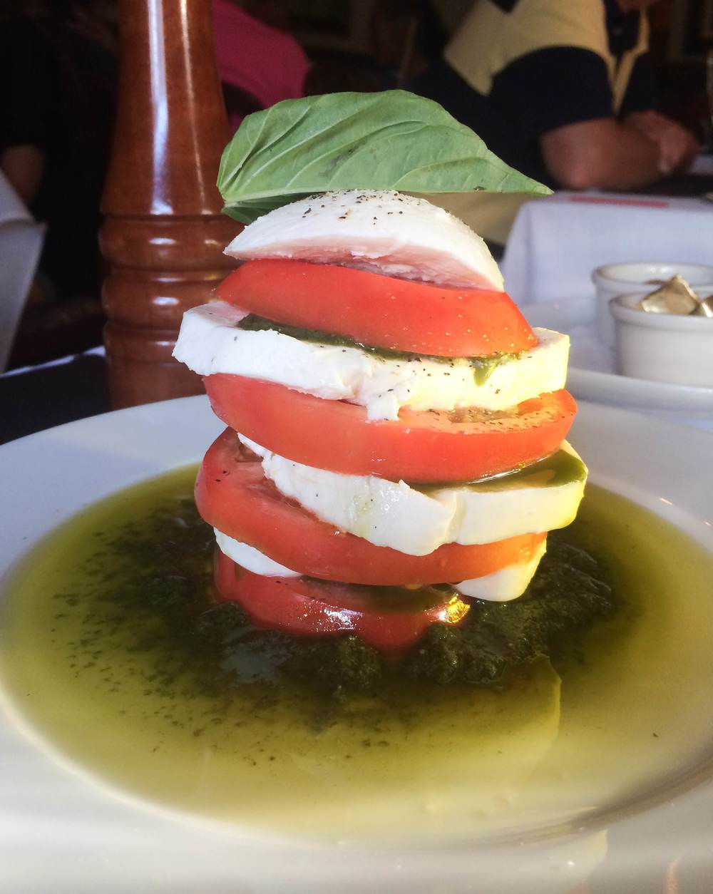 A tomato and mozzarella tower at Sur     (Sur Argentinian Steakhouse, 314 New York Avenue, Huntington, 11743. 631-470-6300).  Long Islander News photo/ Arielle Dollinger