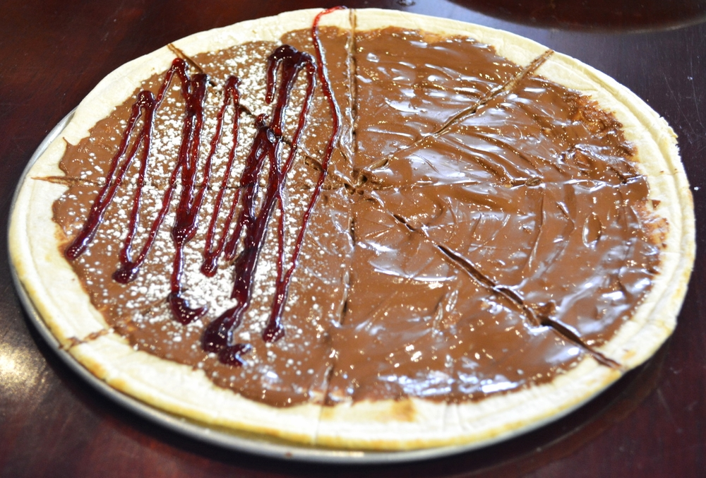 Nutella Pizza is on the dessert menu at Massa's, available with or without raspberry drizzle. (Massa's Coal-Fired Brick Oven Pizza, 345 Main Street, Huntington, 631-923-FIRE (3473),   www.massaspizzeria.com  )  Long Islander News photo/ Andrew Wroblewski