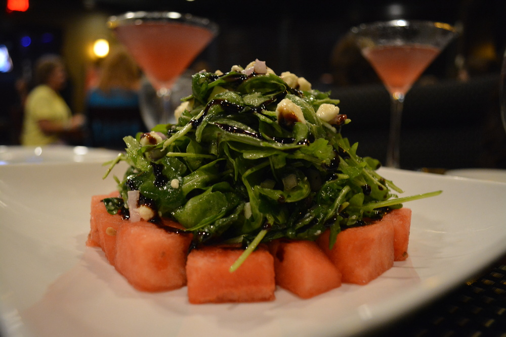 This watermelon salad was a summer special at Black & Blue Seafood Chophouse this year. (Black & Blue Seafood Chophouse, 65 Wall Street, Huntington, 11743. 631-385-9255)  Long Islander News photo/ Arielle Dollinger