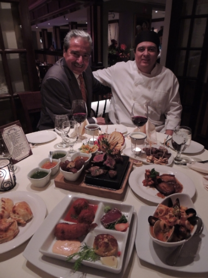 Hugo Garcia and Chef Jorge Gonzalez present an array of favorite dishes at Café Buenos Aires in Huntington village.