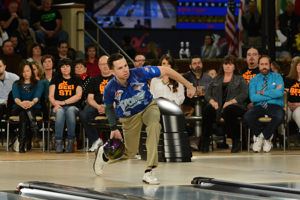 Mike Fagan bowled games of 219 and 252 on the live ESPN finals to capture his fifth PBA title and second major. (Photo by the Professional Bowlers Association)