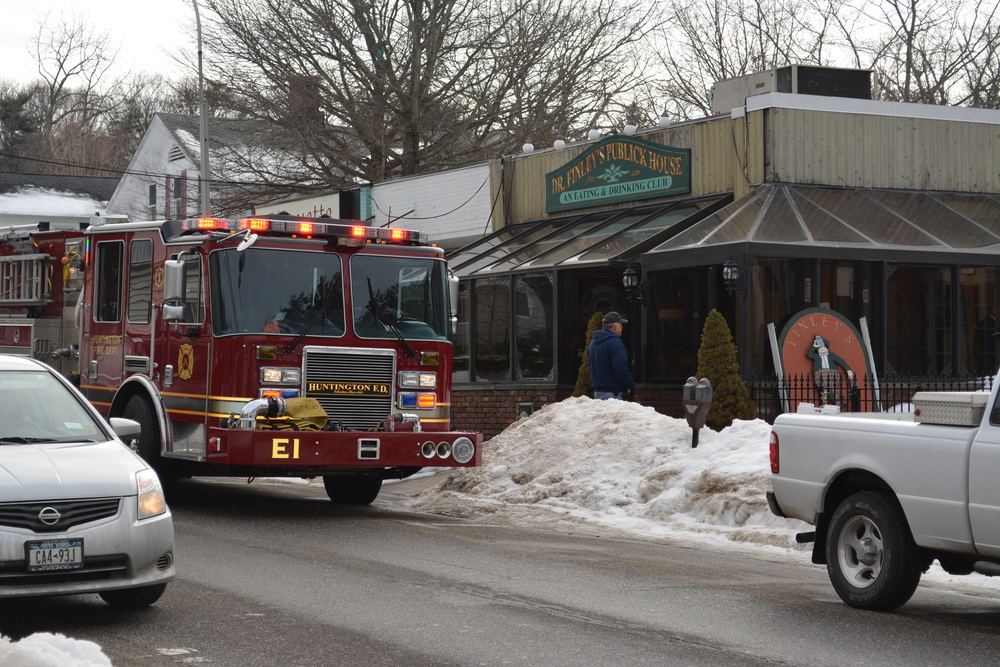 Huntington fire officials are called to Finley's of Greene Street Tuesday afternoon to inspect a carbon monoxide leak.
