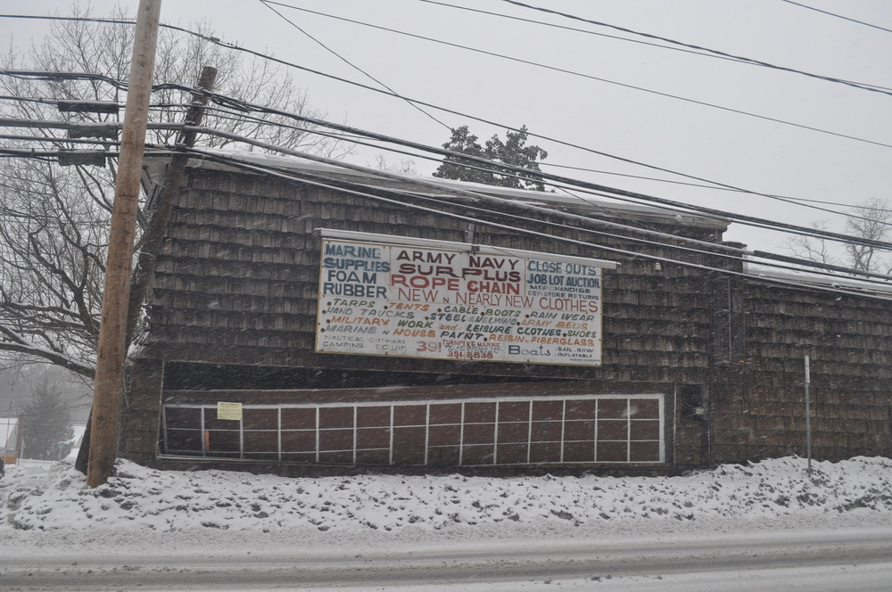 The former site of the Army-Navy store on Jericho Turnpike in Huntington is one of several eyesores along the heavily-traveled state road in Huntington.