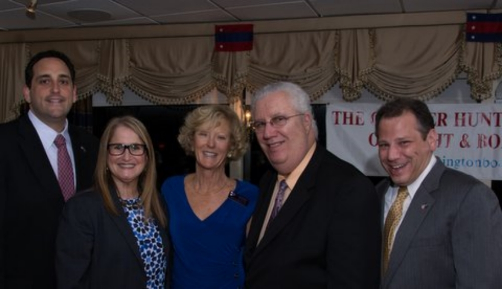 Jackie Martin commodore of the Greater Huntington Council of Yacht and Boating Clubs, center, welcomes from left to right, Assemblyman Chad Lupinacci, Huntington Councilwoman Susan Berland, Senator Carl Marcellino, Assemblyman Andrew Raia, to the Meet the Commodores Event, at Huntington Yacht Club May 2014.