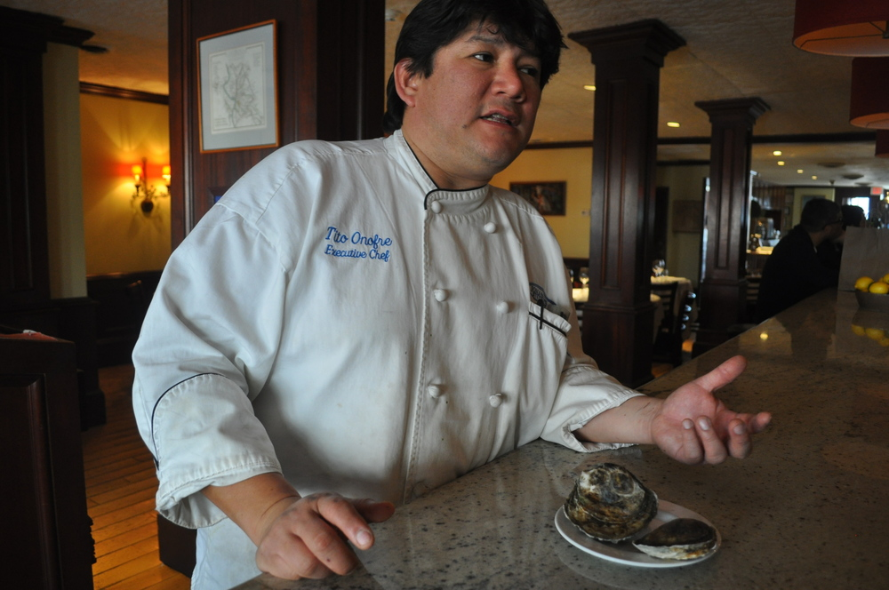 Jonathan's Ristorante executive chef Tito Onofre said shellfish have been hard to come by this winter. The larger oyster is his typical Blue Point offering; the smaller, an oyster from Connecticut.