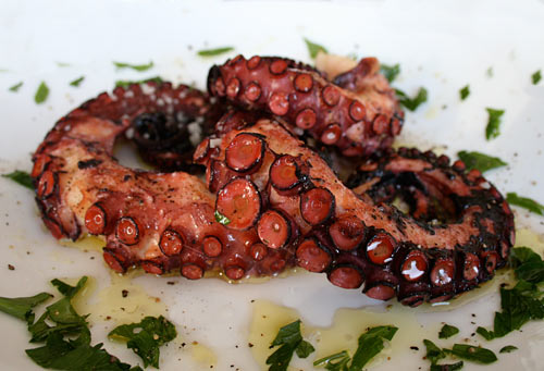 Neraki's delicious octopus, pictured.