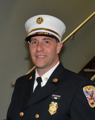 Dix Hills Fire Chief Robert Fling is advocating for firefighters to take another look at how they protect themselves from smoke in the line of duty. (Photo by Steve Silverman)