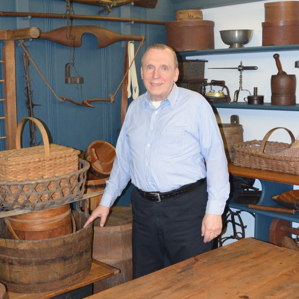 Rex Metcalf in his historic home, Latting's Hundred, which he worked tirelessly to restore and maintain. He is standing in the buttery, or the pantry. All of the wooden kitchenware is from the 18th century.