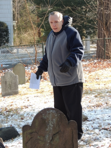 Rex Metcalf gives a Leadership Huntington class a tour of the Old Burying Ground in 2013. (Long Islander News photo/Luann Dallojacono)