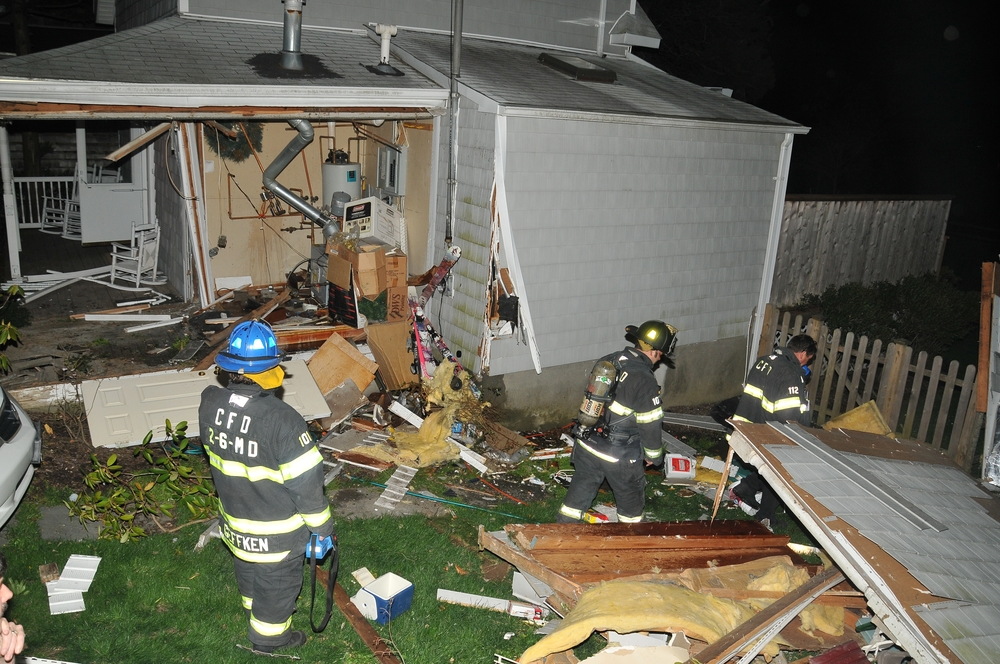 A Huntington resident is accused of drunkenly crashing his car into a Centerport home and driving away. (Photo by Steve Silverman)
