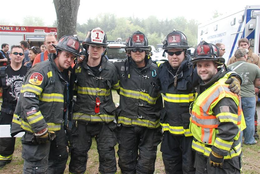 Members of Commack FD prepare for competition. (Photos by John Mancino)