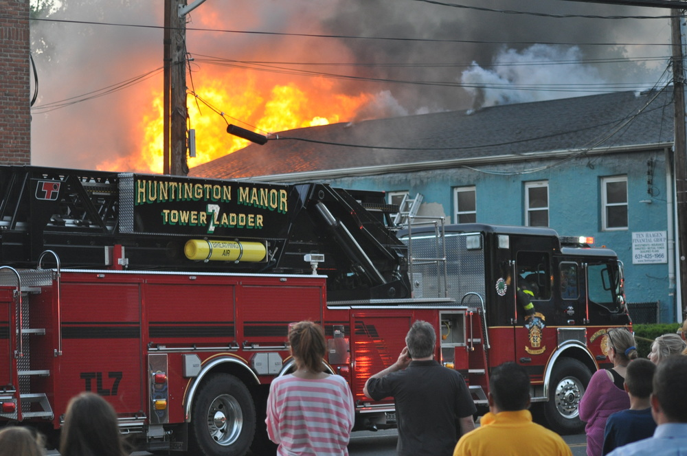 An office building at 191 New York Ave. in Huntington burst into flames Tuesday evening.