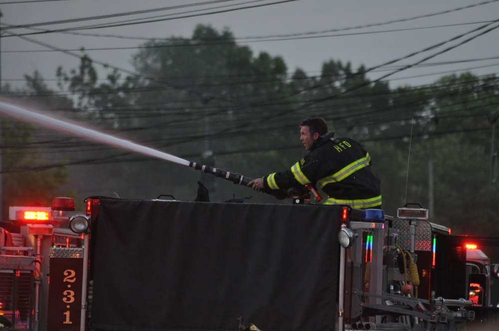 Pictured: A firefighter responding to the fire on New York Ave.