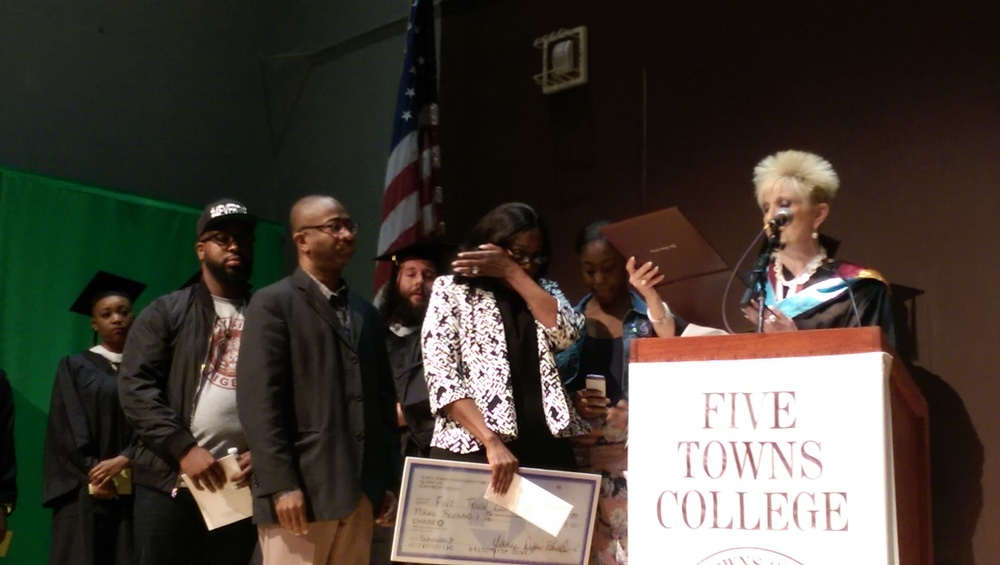 The family of Tejan Edwards received a posthumous degree and presented Five Towns College with a check to begin a scholarship fund in his honor.