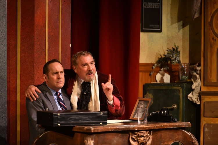 "Joel Newsome and Stuart Zagnit star as Leo Bloom and Max Bialystock in Engeman Theater's ""The Producers."" (Photo by Michael DeCristofaro)"