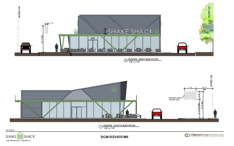 Shake Shack, which is proposing a restaurant at 849 Route 110, goes before the town's Zoning Board of Appeal Thursday, June 11. Pictured is a rendering of the proposed structure.