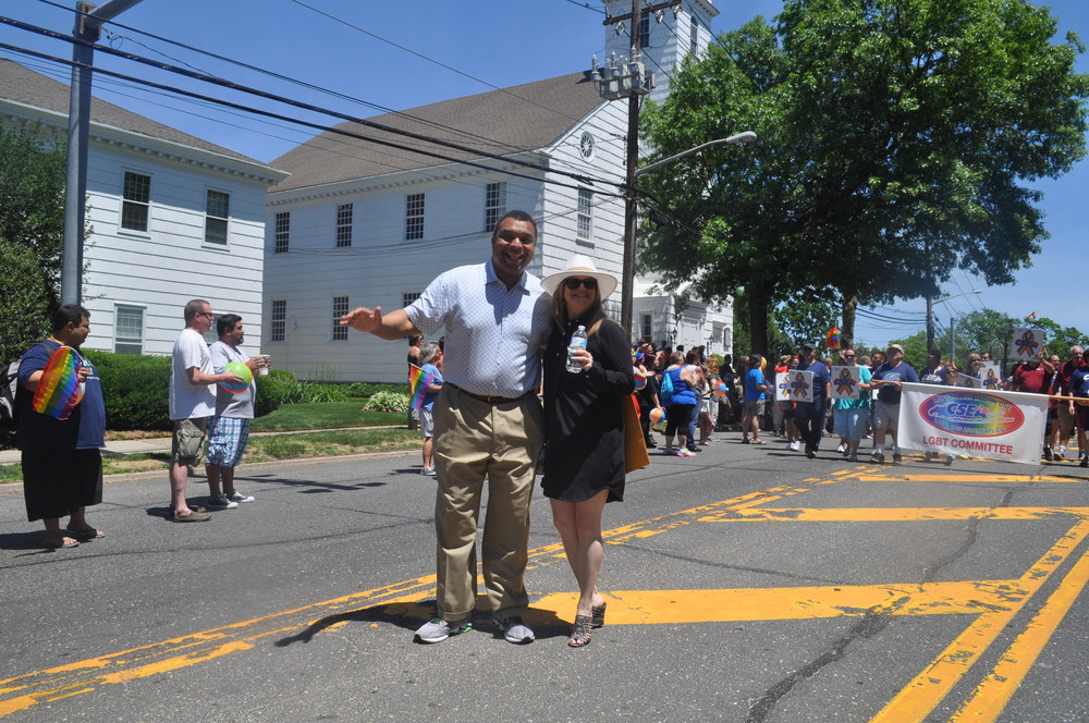 Legislator William Spencer marches with town councilwoman Susan Berland.