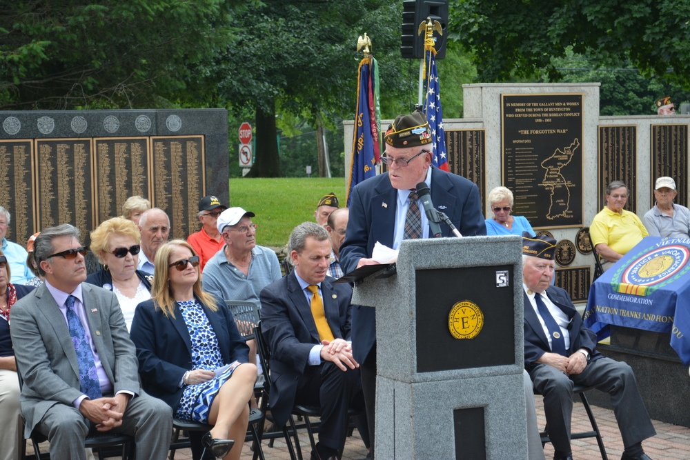 Paul Kelly, chair of the Vietnam committee of the Town's Veterans Advisory Board, remembers his time serving in the Vietnam War with a speech given during a June 11 ceremony at the town's Veterans Plaza.