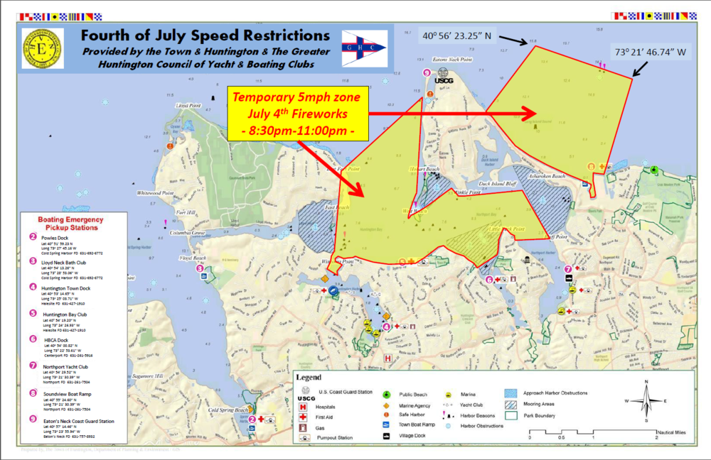 A map displays where a temporary 5 mph boat speed limit will be enforced on July 4 from 8:30 p.m.-11 p.m. in both Huntington and Northport bays and the Long Island Sound.