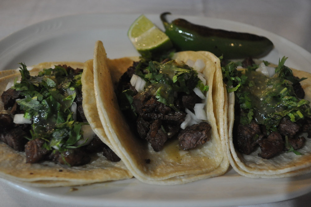 Traditional steak tacos are a satisfying selection.