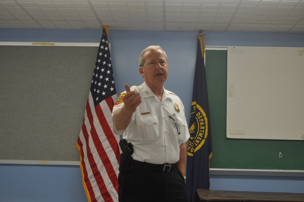 Inspector Edward Brady presides over his final community meeting as the commanding officer of the Second Precinct. He is set to retire on July 17, closing out a 36-year law enforcement career.