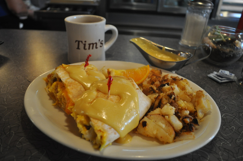 "A mug of Tim's famous coffee goes perfectly with the new ""Wreckfast"" burrito."