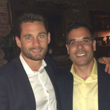 Beekeeping advocate Chris Algieri, right, got a hand from his cousin, boxing ring master Chris Algieri, July 18 in raising funds for the Long Island Beekeepers Club in memory of Craig Byer.