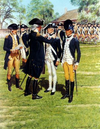 On May 3, 1783, Sgt. Elijah Churchill received the Badge of Military Merit from Gen. George Washington for his efforts in the battle of Fort Slongo. Washington established the badge on Aug. 7, 1782. Ilustration by U.S. Army.