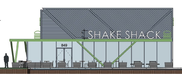A rendering depicts a proposed Melville Shake Shack location.