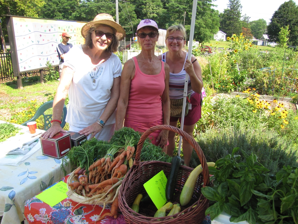 Nancy Berg, Barbara Wildfeir and Viera Oszlak are board members of the Gateway Community Garden, which held its annual sale on Saturday.