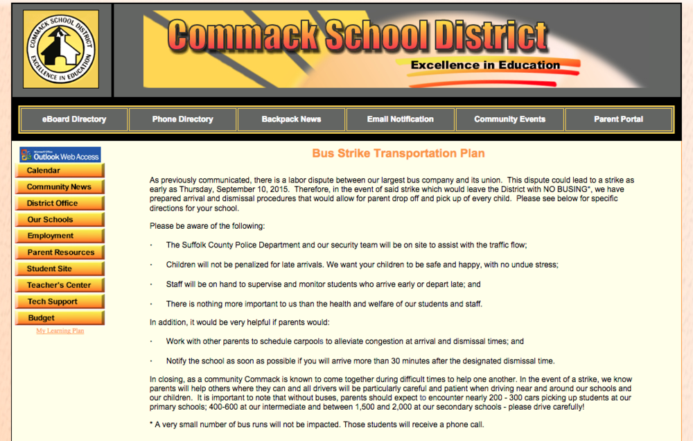 The Commack Union Free School District posted transportation contingency plans to its website for parents in case bus drivers strike
