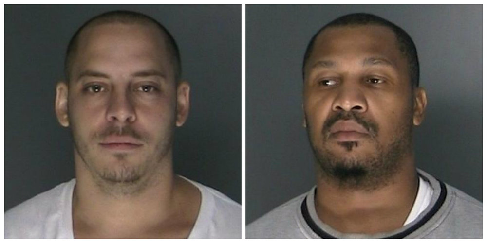 Suspected gang members Wesley Erickson, of Huntington, and Andre Knox, of Huntington Station, were arrested on drug charges and illegally possessing a firearm following a raid on Erickson's home Thursday morning.