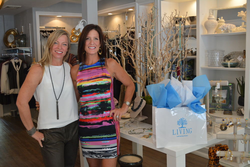 Jenn Cassidy and Liz Schupler, store managers of the Cold Spring Harbor women's boutique Living, are childhood friends turned business partners.