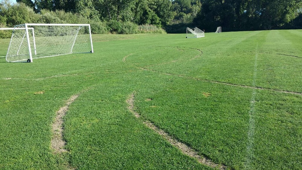 At least two cars are believed to have damaged the turf at Northport Cow Harbor United Soccer Club's Northport Soccer Park.