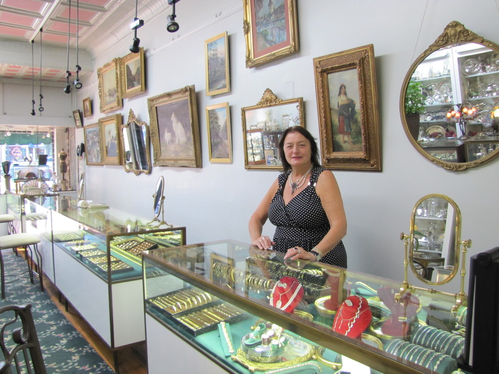 Rutika Gold, owner of Antiques & Jewels On Main, has been selling fine antiques, estate and modern jewelry for 36 years in Huntington village.