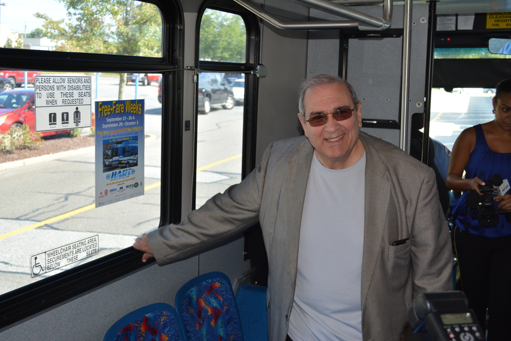 "Huntington Supervisor Frank Petrone took a bus Monday to promote the first of two ""Free-Fare Weeks."""